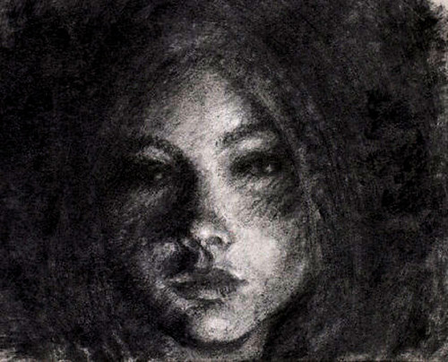 Vine Charcoal And Pencil Drawing A Girl In Shadows Flickr