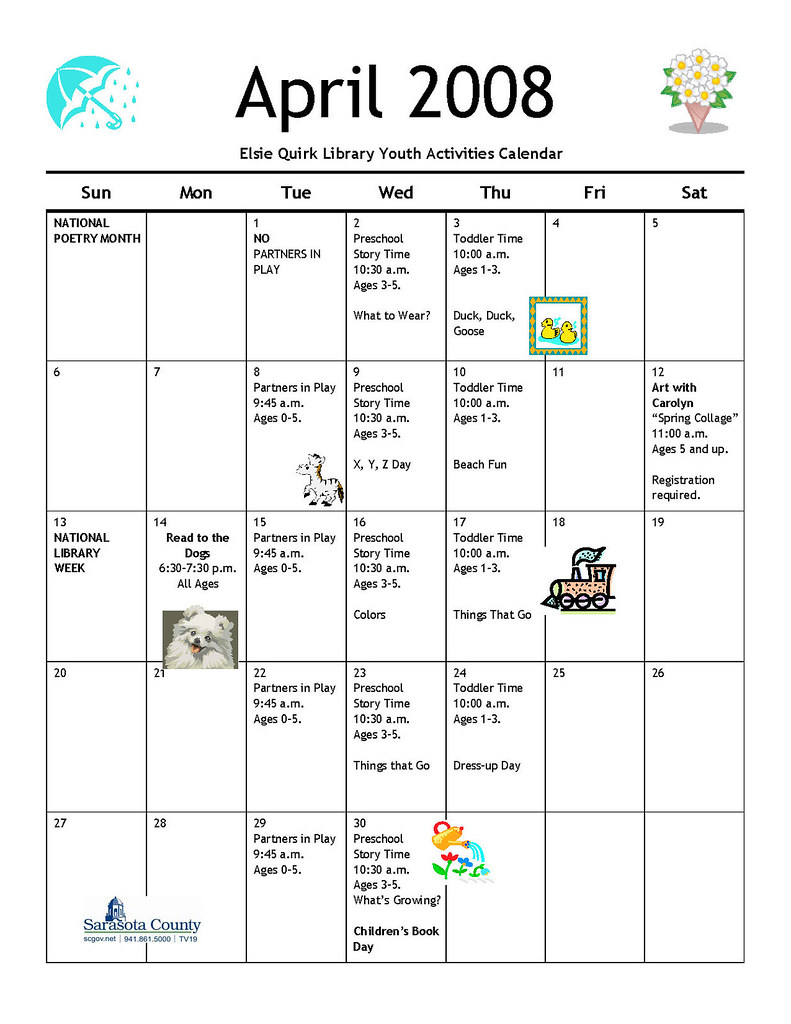 Elsie Quirk Library Youth Calendar April 2008 Check Out T Flickr