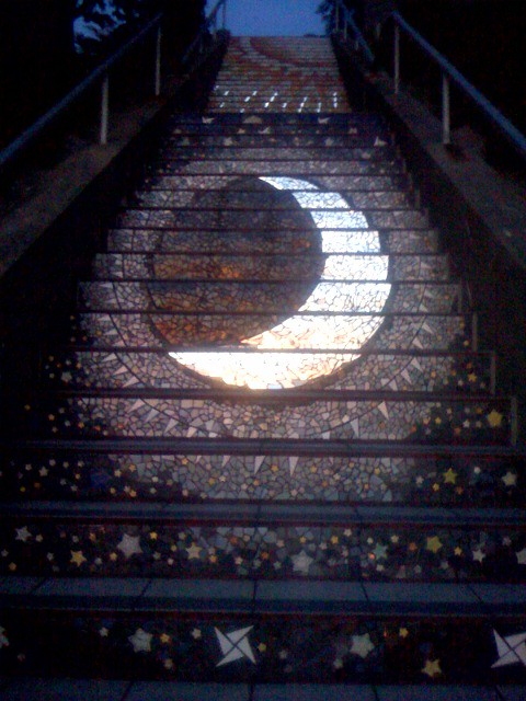 The Sun And The Moon Moon mosaic steps, Mor...