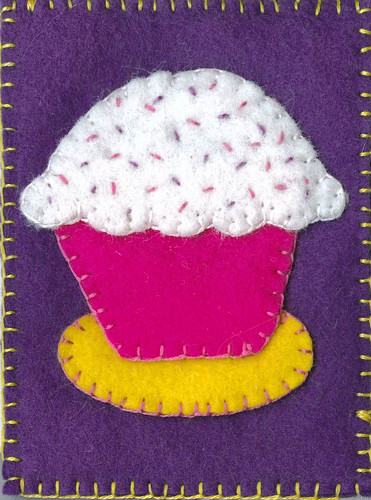 ATC Traded - Felt Cupcake on Purple | by Pictures by Ann