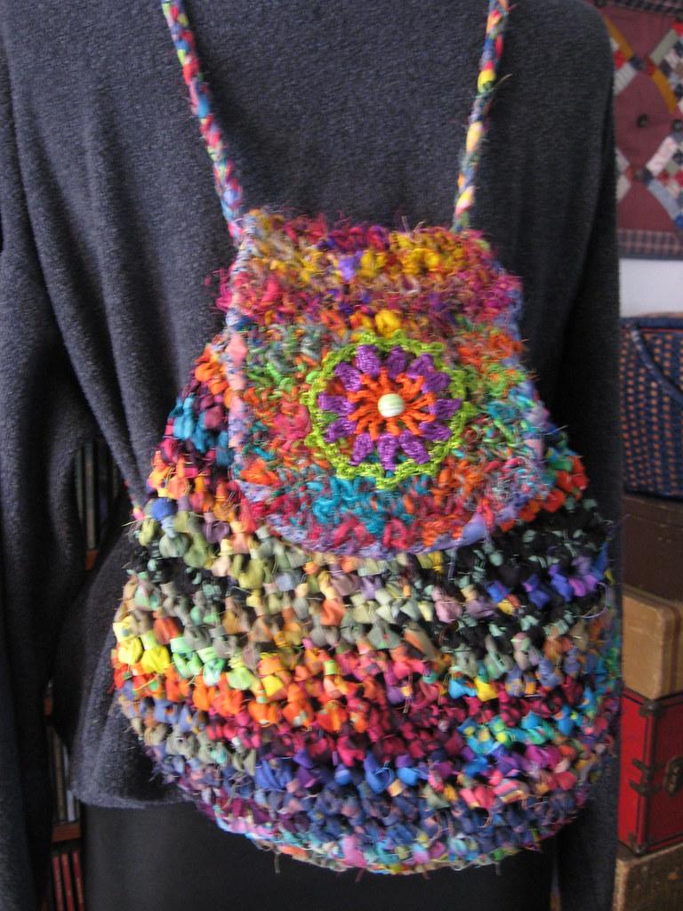 Crochet Materials : Crochet Fabric Strip Backpack My original design. The body ...