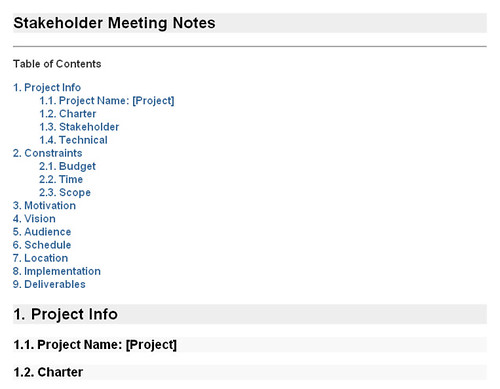 Stakeholder Meeting Notes Rendered Xhtml Nochunks Of Wal