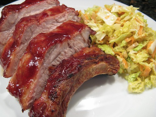 Raspberry Lime Glazed Ribs with Tangy Almond Slaw | by katbaro