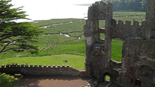 Laugharne Castle in Wales, the estuary