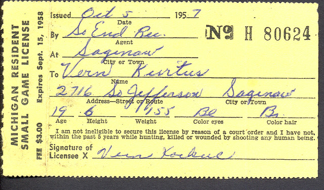 1958 michigan resident small game hunting license flickr for How much is a fishing license in michigan