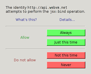 Initial WebVM security dialog mockup | by Kai Hendry