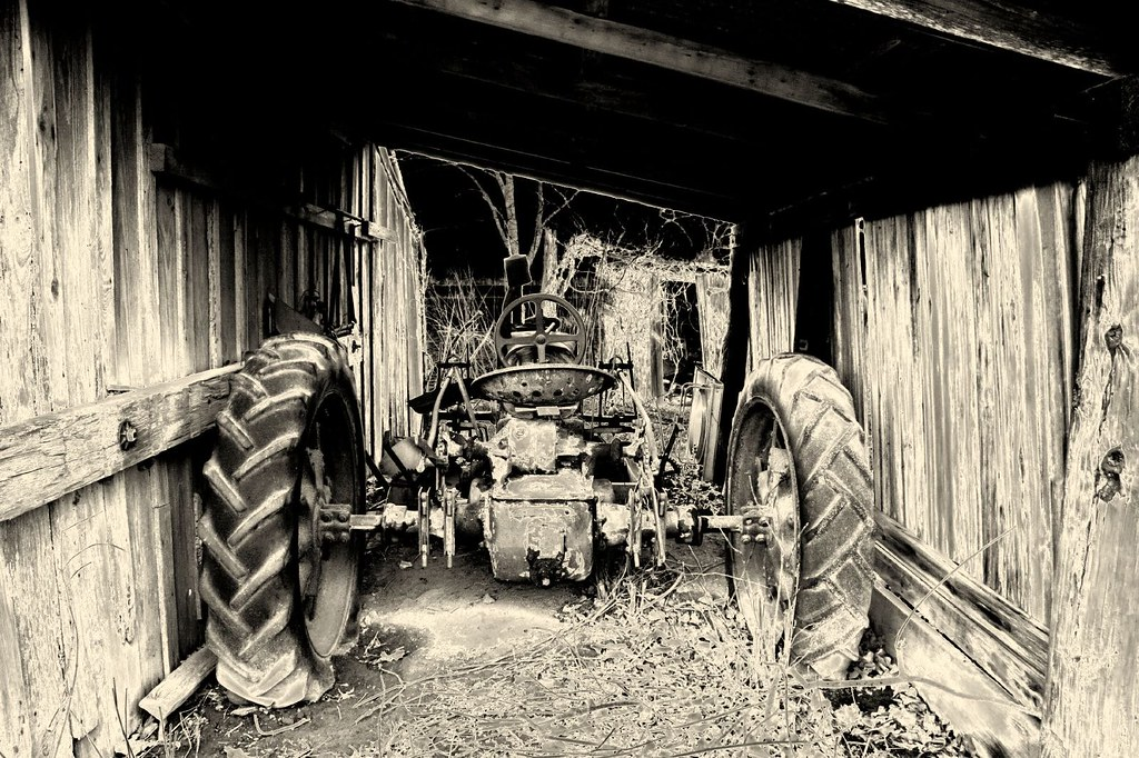 Old Tractor In A Shed | We we're driving down an old road ...