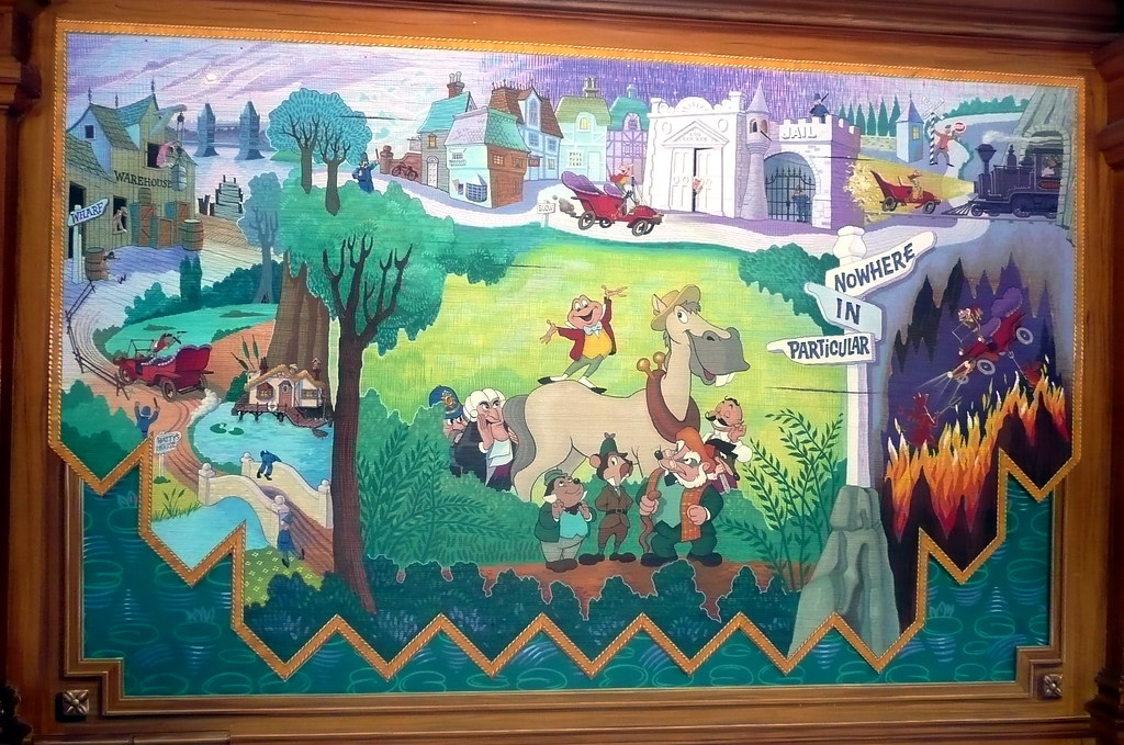 Mr toad mural located in the loading and unloading area for Disneyland mural