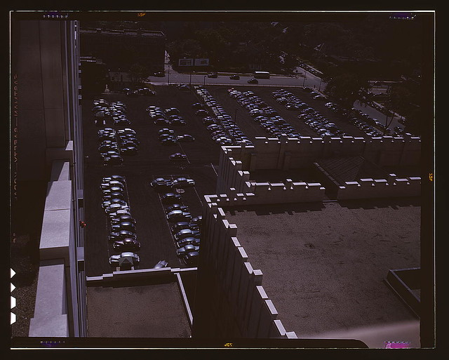 Looking down on a parking lot from the rear of the Fisher