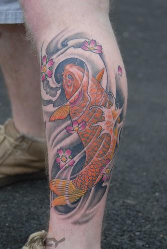 Koi Fish Tattoo Leg