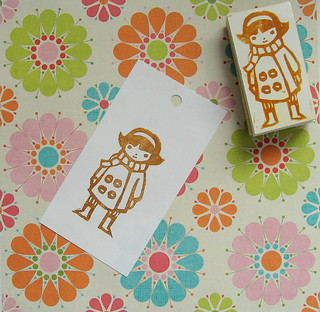 girl hand carved stamp | by mekoopelet