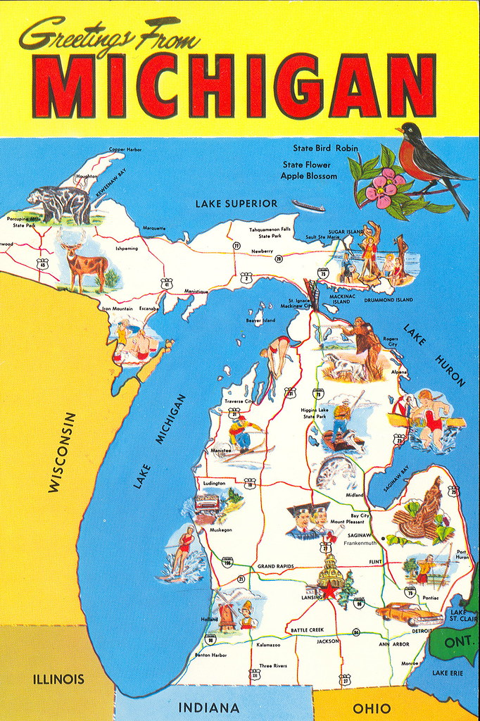 Michigan tourism map card2 done upnorth memories guy michigan tourism map card2 by upnorth memories donald don harrison gumiabroncs Images