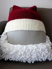 Santa Hat For Motorbike Helmet Front Photographed Over