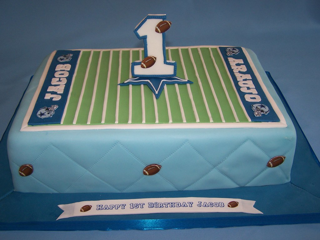 Football Dallas Cowboys theme cake for a baby Happy 1st Flickr