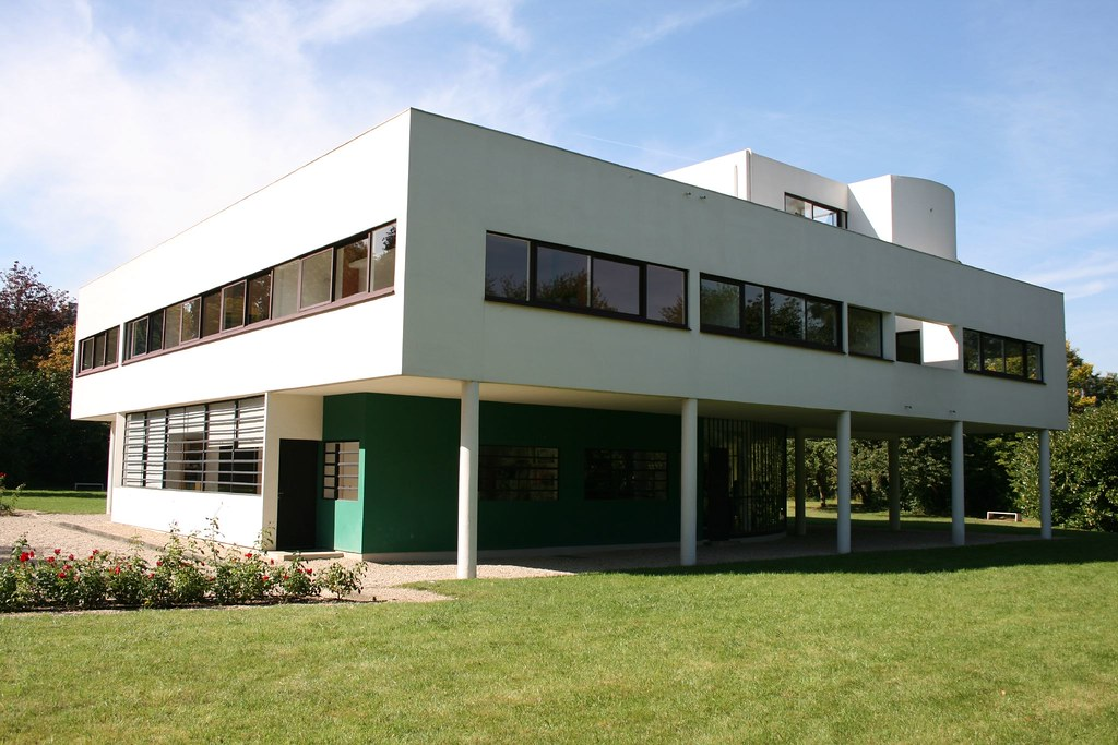 villa savoye exterior of villa savoye by le corbusier and flickr. Black Bedroom Furniture Sets. Home Design Ideas