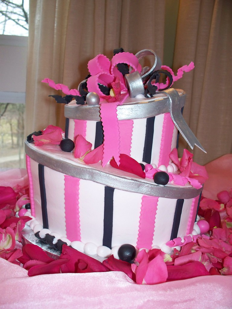 Silver Pink Amp Black Topsy Turvy Birthday Cake Light