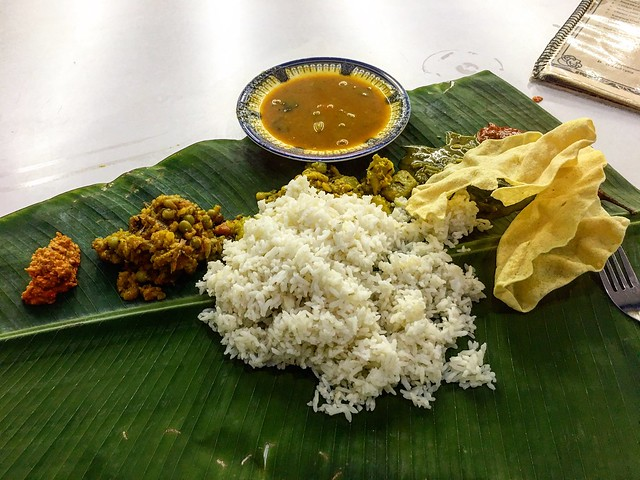 South Indian thali on banana leaf