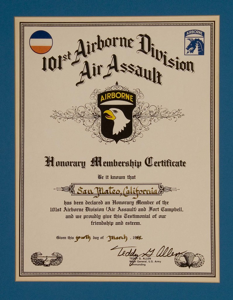honorary membership certificate