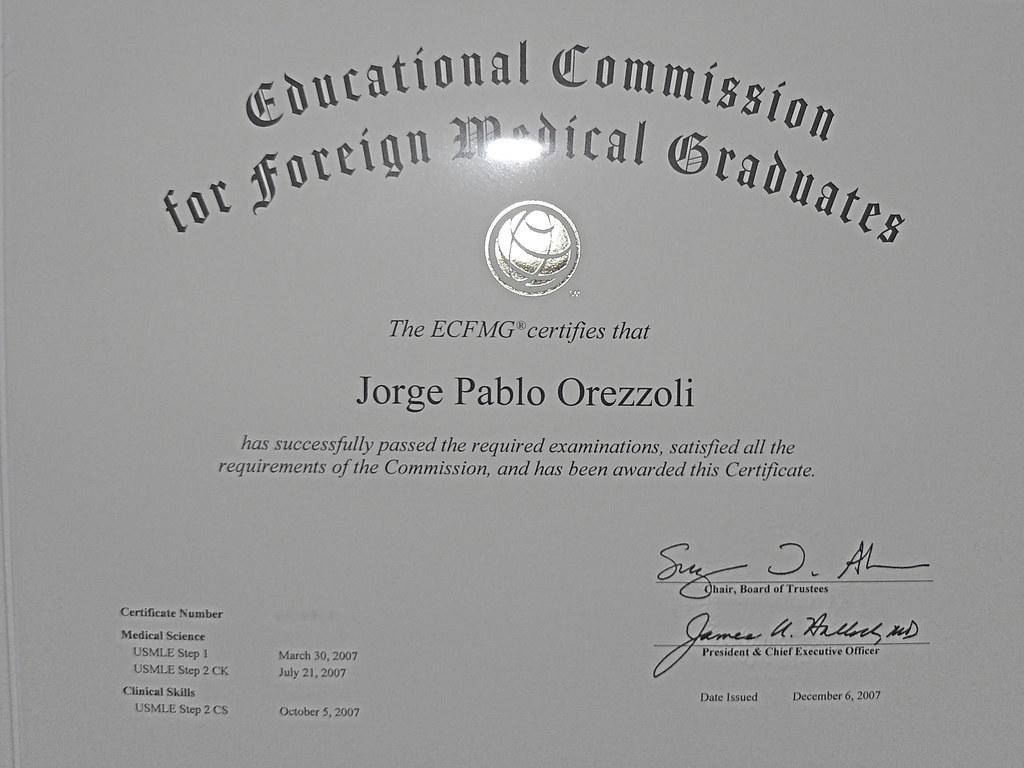 My Ecfmg The Gods Forsaken Certificate At Last Pablo Orezzoli