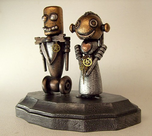 Robot Bride and Groom Wedding Cake Topper Wood Statues with Base 6 | by Builders Studio