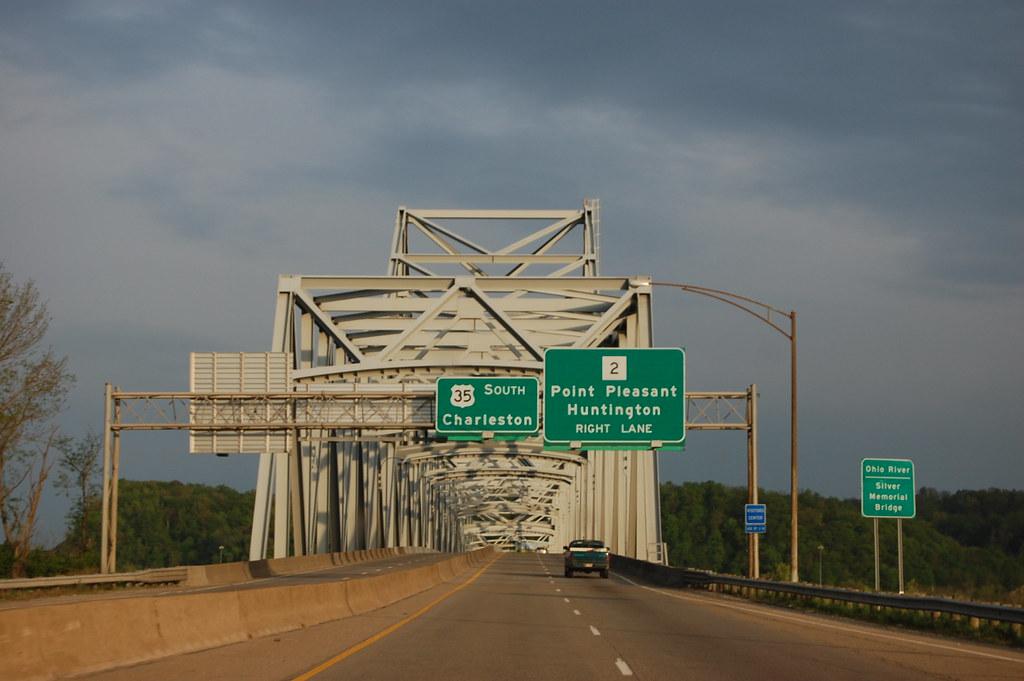 Silver Memorial Bridge Ohio River Entering Wv At Point