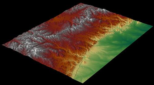 Colorado Front Range - Digital Elevation Model (DEM) rende ...