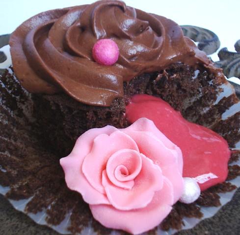 Dark Chocolate Raspberry Filled Cake