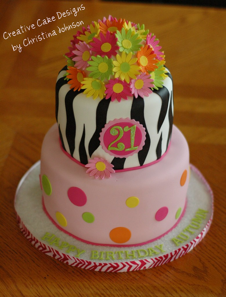 Cake Designs For Women S Day : Zebra Daisy Cake Ordered off of my Hip Chics cake I did ...