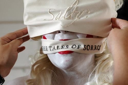 Putting the blindfold and gag on - Edith Abeyta - Salty, Three Tales of Sorrow at the El Camino College Art Gallery | by Marshall Astor - Food Fetishist