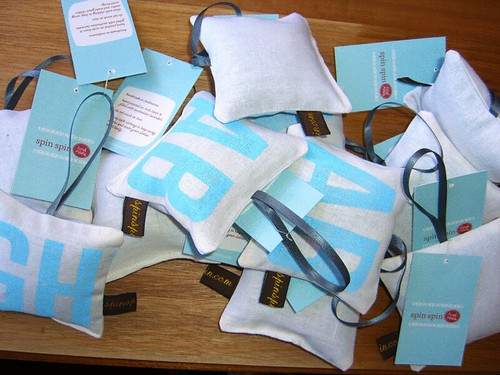 Lavender bags all sewn up and tagged | by Spin Spin