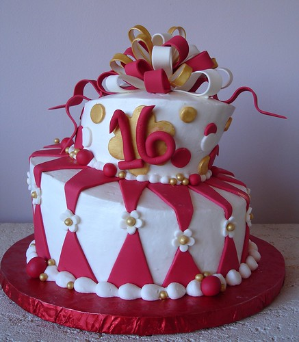 Red And Gold Fondant Cake