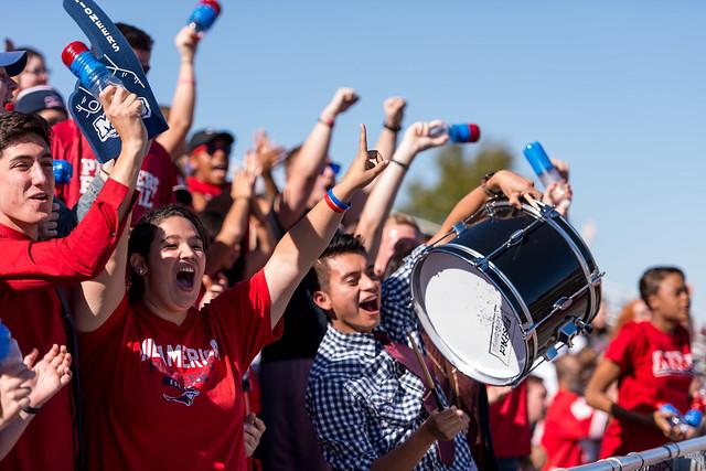 Students cheering at MNU football game