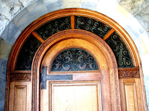Baxter Memorial Library (1889) - doorway brass arch detail | by origamidon
