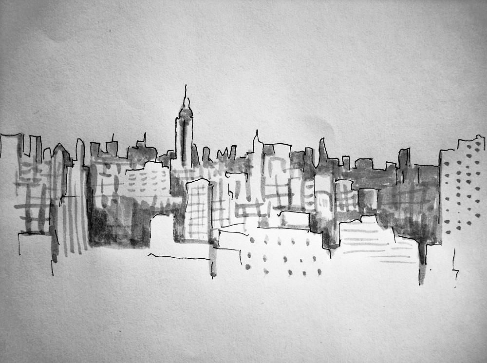 Line Drawing Nyc : Nyc skyline pen & ink wash. u201ceach man reads his own meaninu2026 flickr