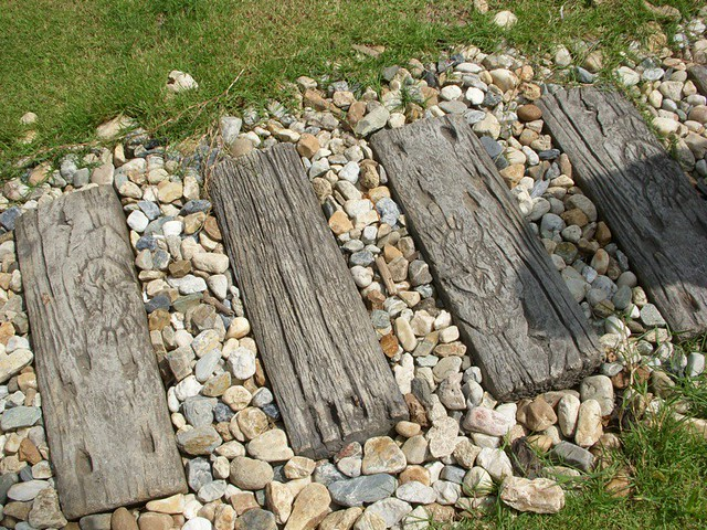 These Stepping Stones Look Like Old Wood But Are Concrete