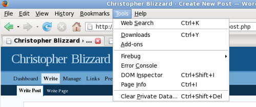 Menu on Firefox 2 on Linux | by Christopher Blizzard