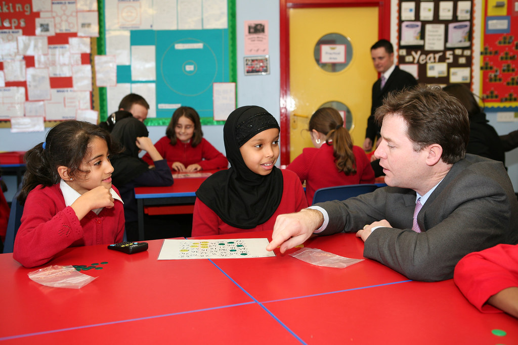 nick clegg with pupils from mount stuart primary school  c