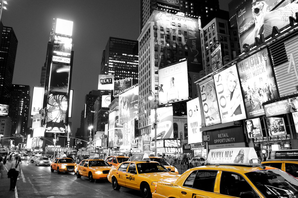Times square new york black white and yellow taxi cab