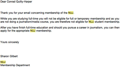 NUJ won't accept me as a member | by Coneee