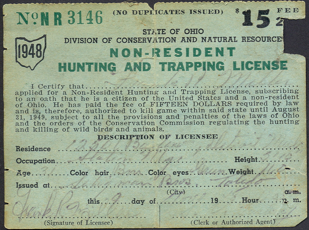 1948 ohio non resident hunting license don the upnorth