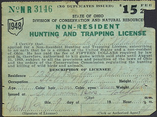 1948 ohio non resident hunting license don the upnorth for Ohio state fishing license
