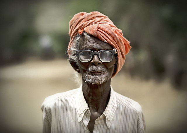 Old Man With Turban And Glasses - Pudukkottai