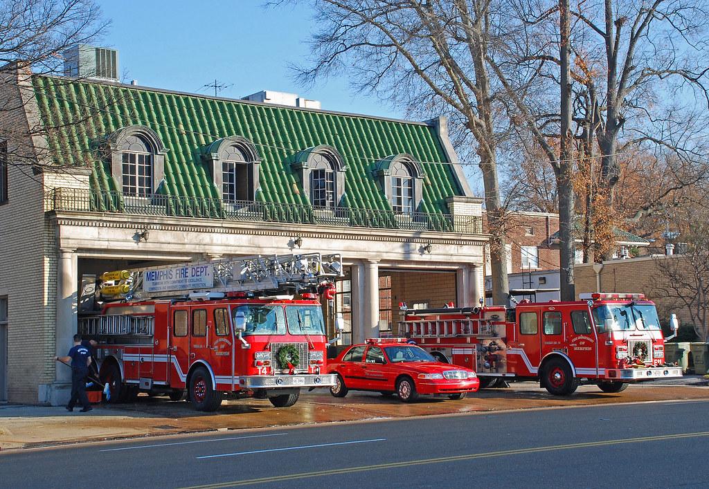 Memphis Fire Dept A Ladder Truck Pumper And Ford Car
