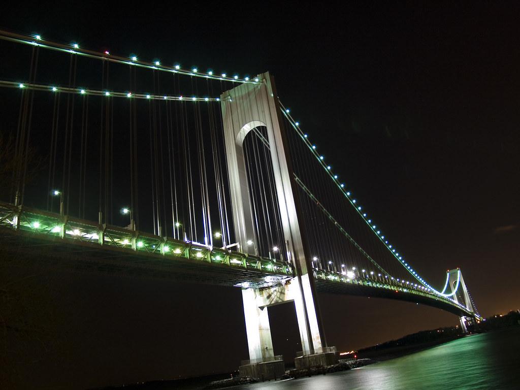 Verrazano-Narrows bridge at night | This is the first shot ...