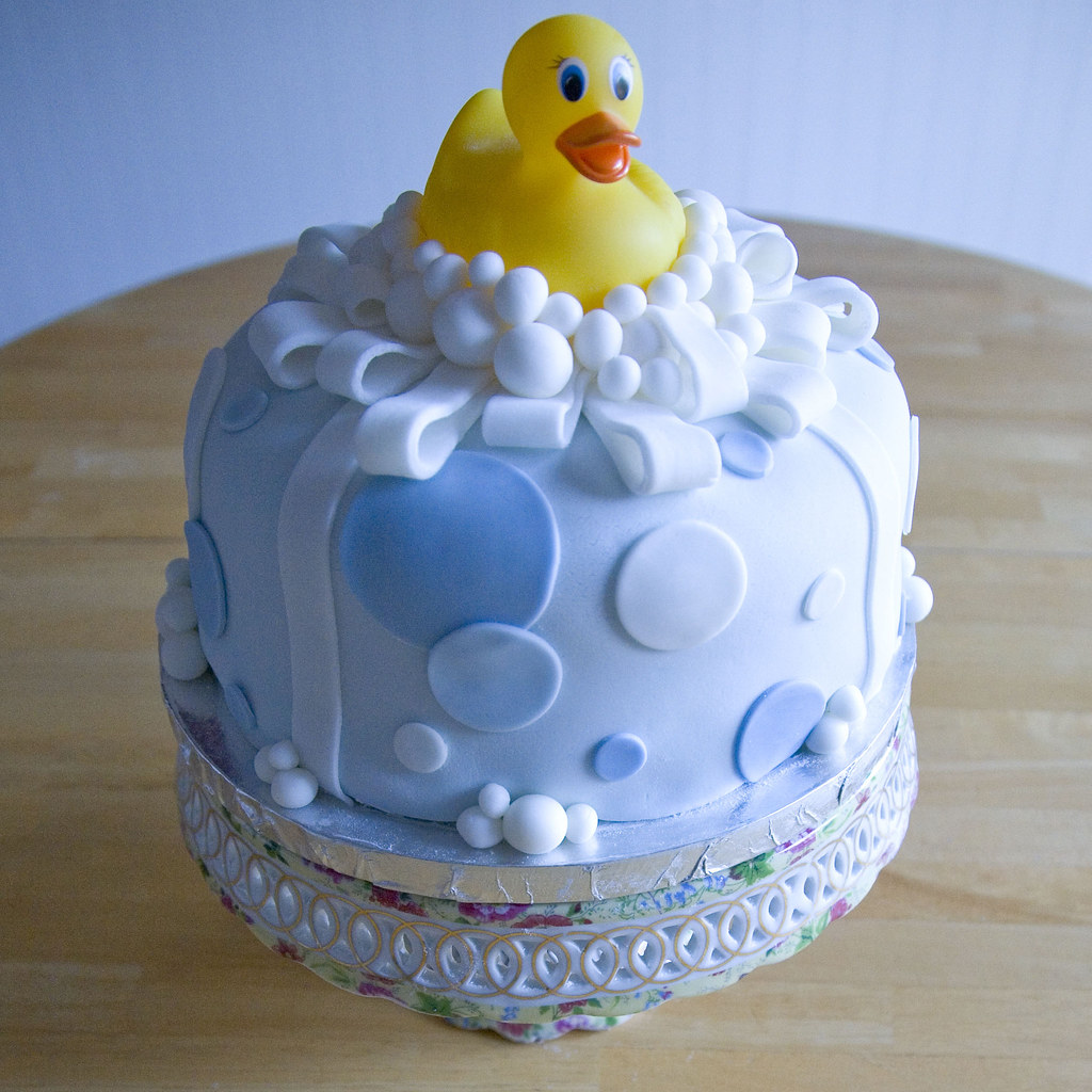 rubber ducky fondant cake baby shower cake for a lucky boy