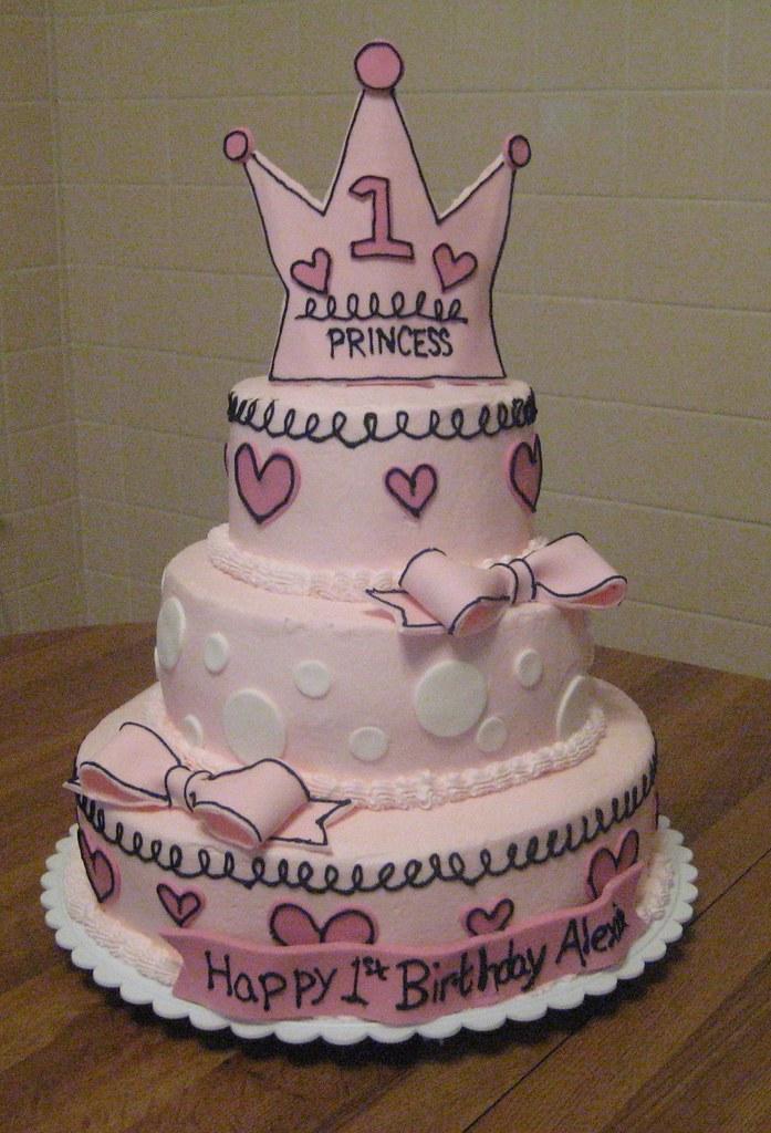 1st Birthday Girl Princess Cake Made To Match An Invitatio Flickr