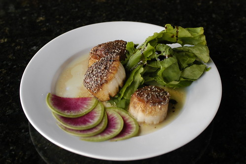sea scallops with black rice flour | by shauna | glutenfreegirl