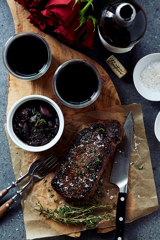 Cast Iron Ribeye Steak with Red Wine Mushroom Sauce