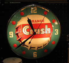 Vintage Orange Crush lighted Pam clock | by Vintage Roadside