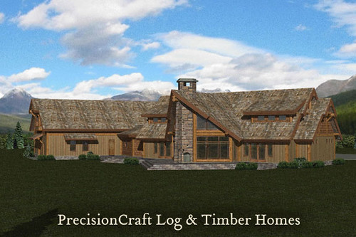 Located in vermont rendering post beam log home by p for Home builders in vermont